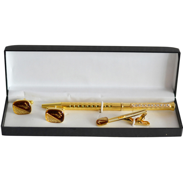 Tie Pin Sets-Golden Raindeer Sqaure Tie Pin and Cufflinks Gift Set