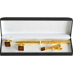 Brown Enamel Golden Tile Tie Pin and Cufflinks Gift Set