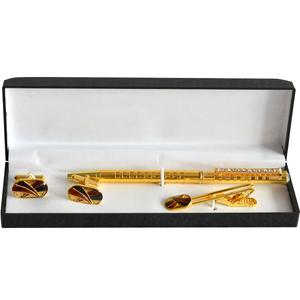 Elegant Golden Criss Cross Tie Pin and Cufflinks Gift Set