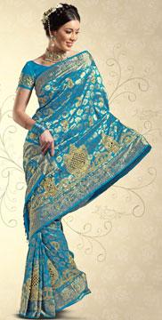 Embroidered Kanchipuram Brocade Silk Saree