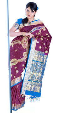 Embroidered Kanchipuram Silk Saree