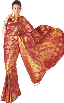 Kanchipuram Zari Brocade Silk Saree