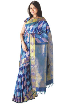 Kanchipuram Resham Brocade Silk Saree