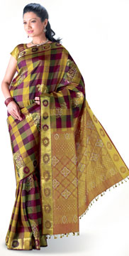 Kanchipuram Silk Saree with Swaroviski Crystal