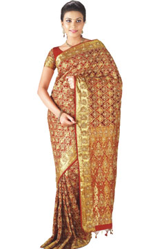 Hand Woven & Hand Embroidered Zari Brocade Kanchipuram Silk Saree