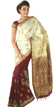 Hand Woven & Hand Embroidered Kanchipuram Silk Saree