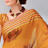 Orange Cot Silk Printed Saree