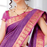 Purple and Pink Cot Silk Saree