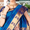 Blue and Violet Bon Silk Saree