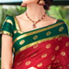Red and Green Crepe Saree