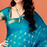 Blue Crepe Saree