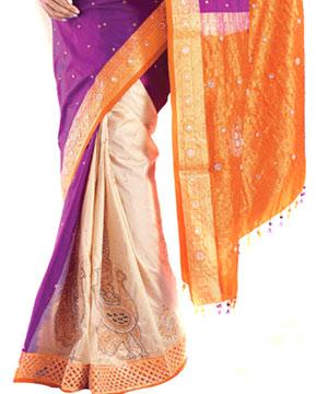 Kanjivaram Silk Saree-Embroidery Patli Style Kanjivaram Silk Saree