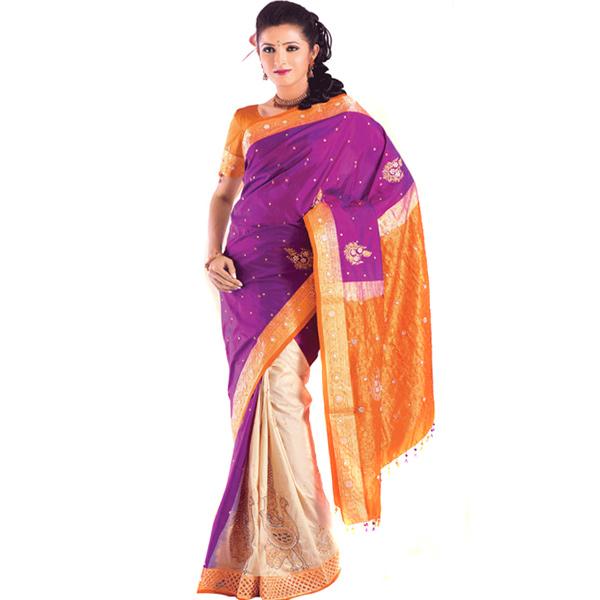 Embroidery Patli Style Kanjivaram Silk Saree