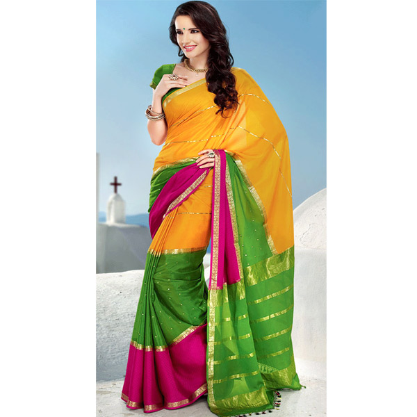 Yellow and Green Color Crepe Saree