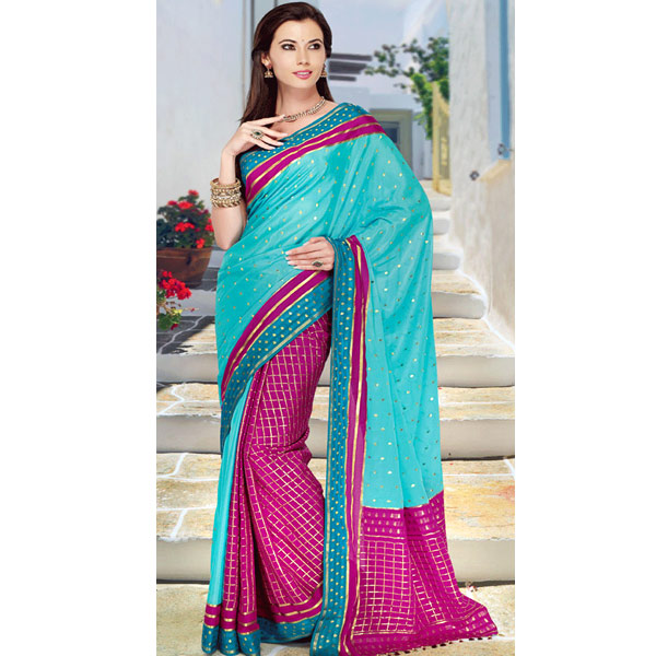 Blue and Pink Color Crepe Solid Pretty Pleats Half and Saree