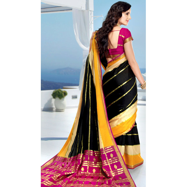 Black and Pink Color Crepe Solid Saree
