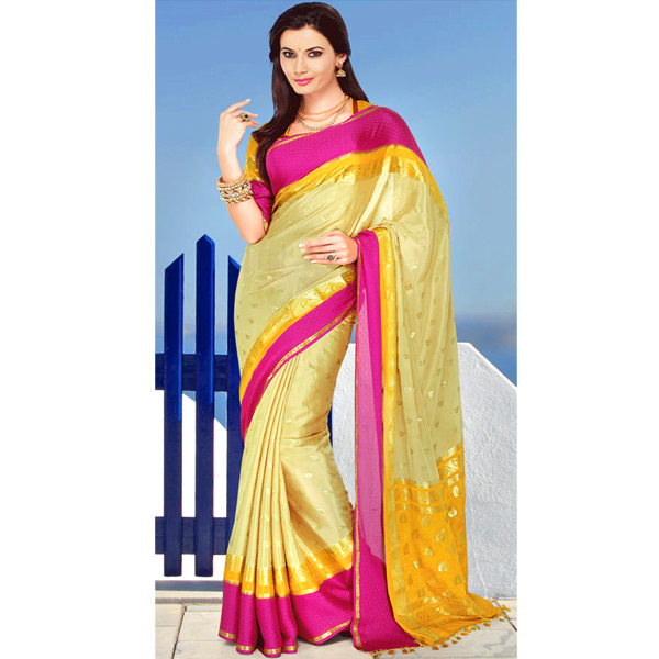 Beige and Yellow Color Crepe Solid Saree