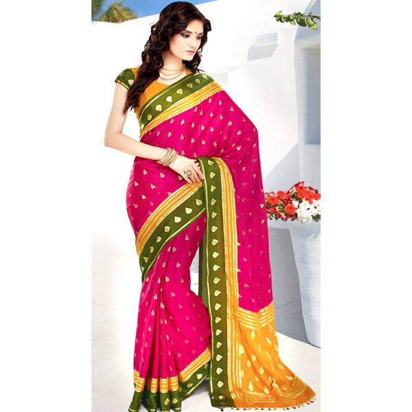 Dark Pink and Yellow Color Crepe Solid Saree