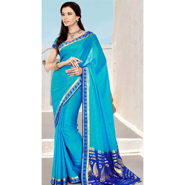 Deep Sky Blue and Dark Blue Color Crepe Solid Saree
