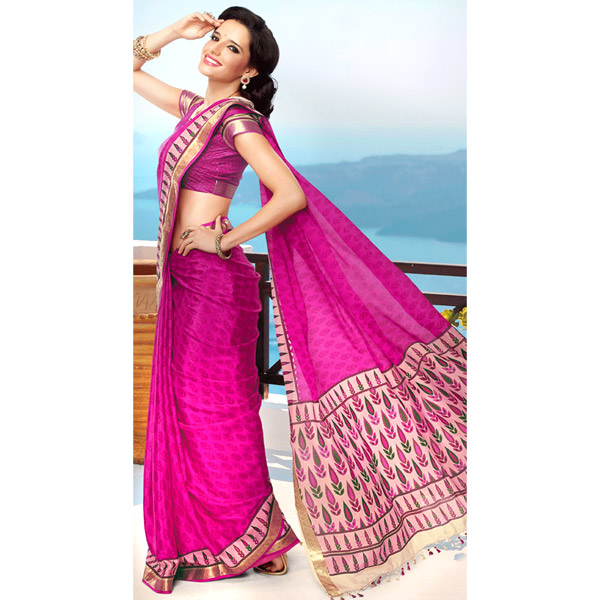 Pink and Cream Color Crepe Printed Saree