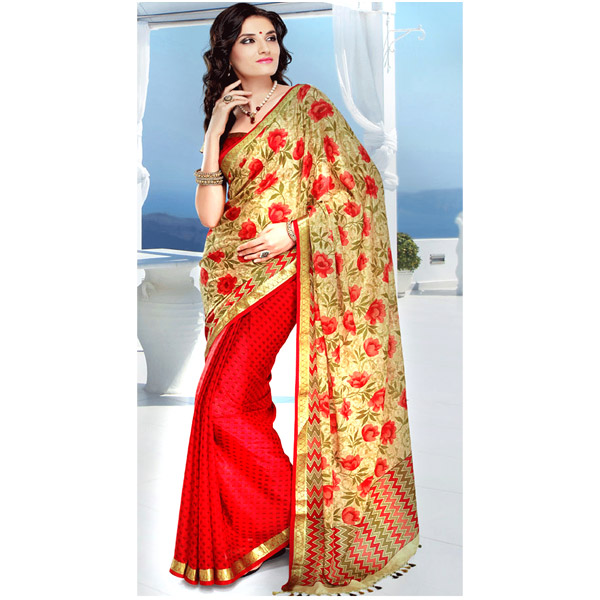 Beige and Red Color Crepe Printed Half and Half Saree