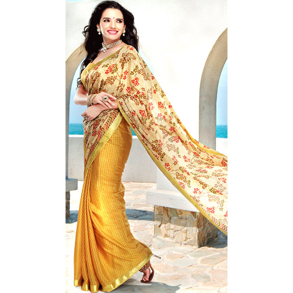 Beige and Mustard Yellow Color Crepe Printed Half and Half Saree