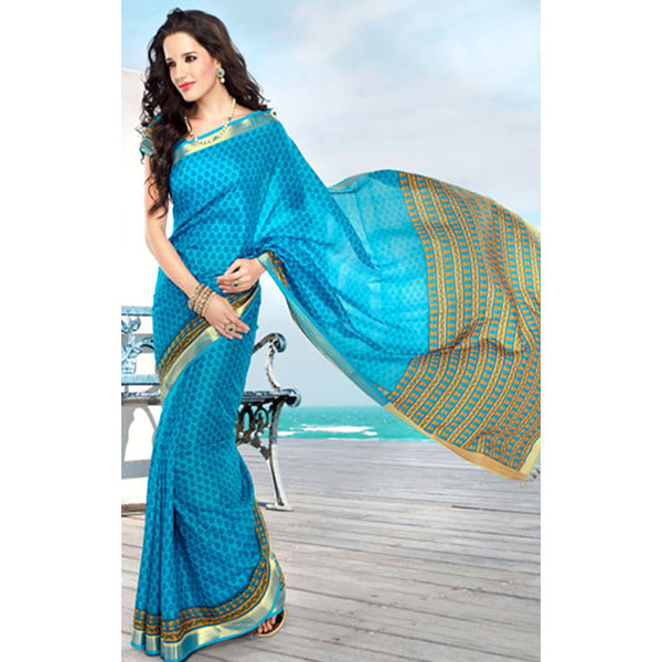 Blue and Yellow Color Silk Printed Saree