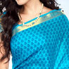 Gift Blue and Yellow Color Silk Printed Saree on Mothers Day
