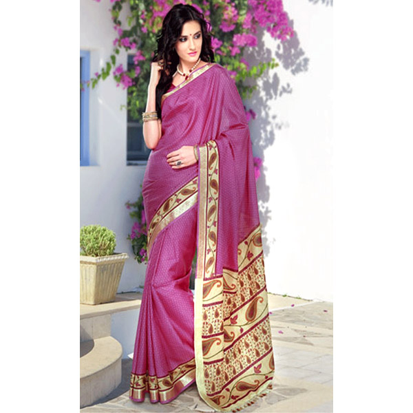 Pearly Purple and Pale Goldenrod Color Silk Saree