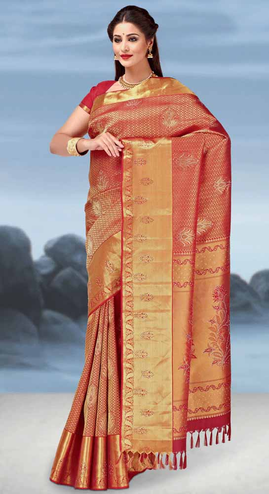 Hand Woven Jari Brocade Swaroviski Crystal Pure kanchipuram Silk Saree
