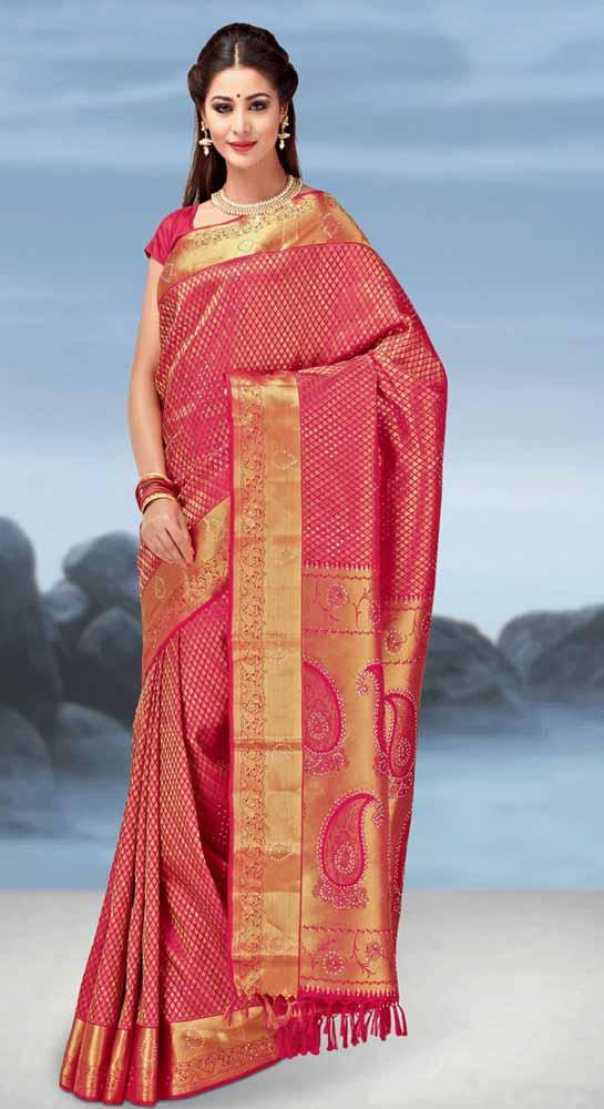 Hand Woven Jari Brocade Swaroviski Crystal Pure kanchipuram Silk Saree