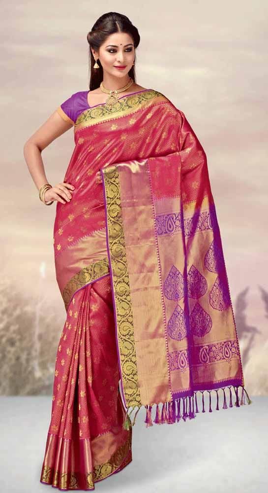 Hand Woven Jari Brocade contrast Pure kanchipuram Silk Saree