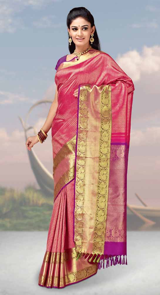 Hand Woven Jari Brocade contrast Pure kanchipuram Silk Saree