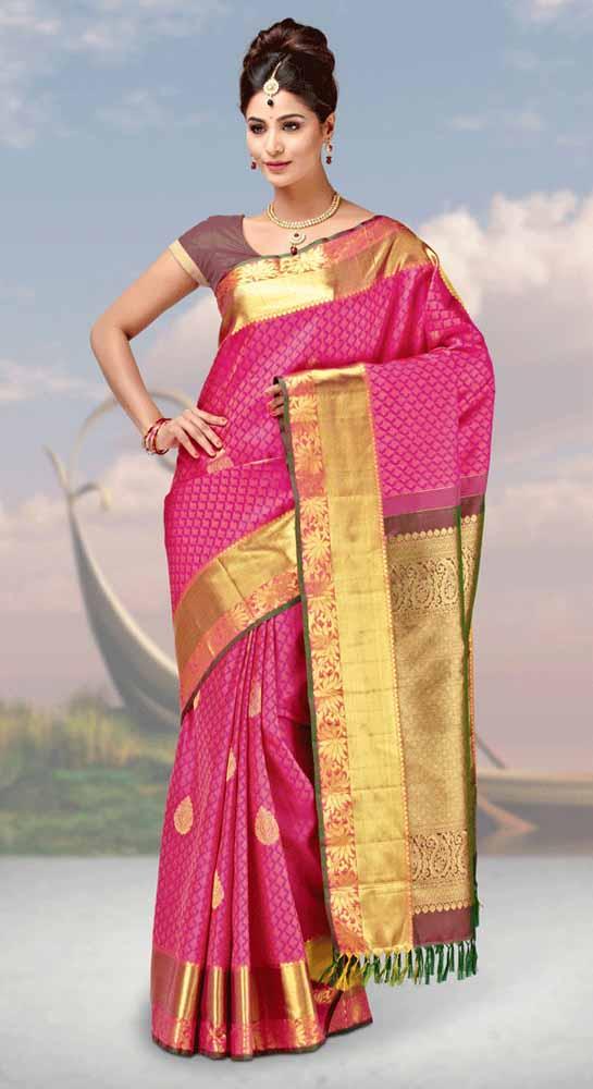 Hand Woven resham brocade contrast Pure kanchipuram Silk Saree