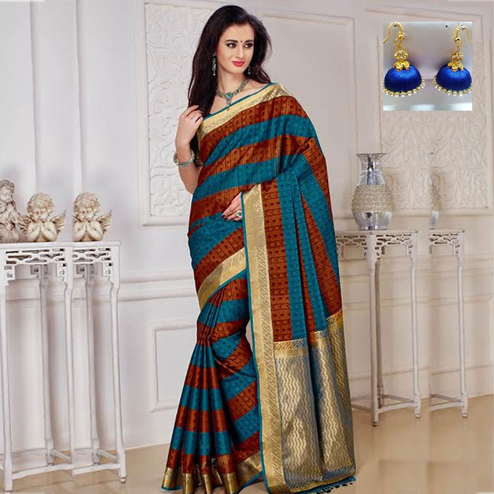 Brown and Blue cot silk saree