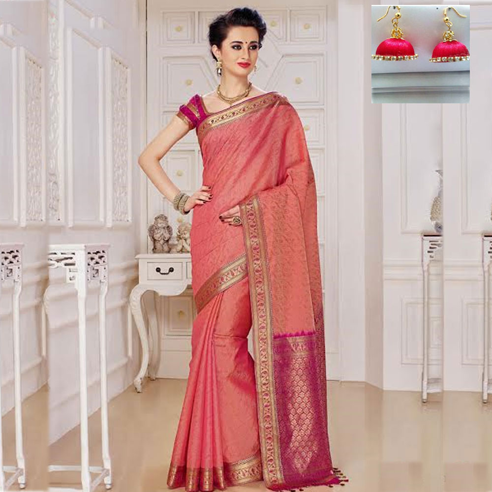 Peach and Pink cot silk saree