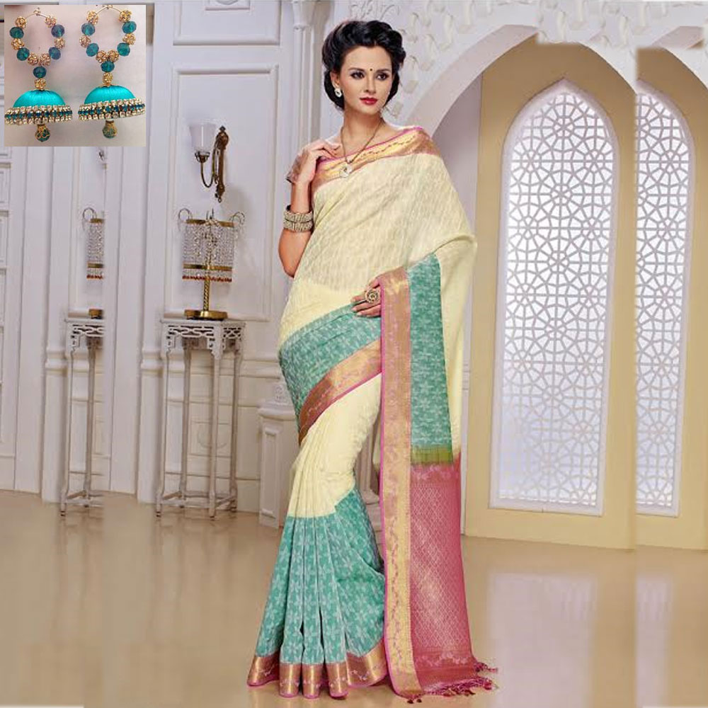 Cream and Baby pink cot silk saree