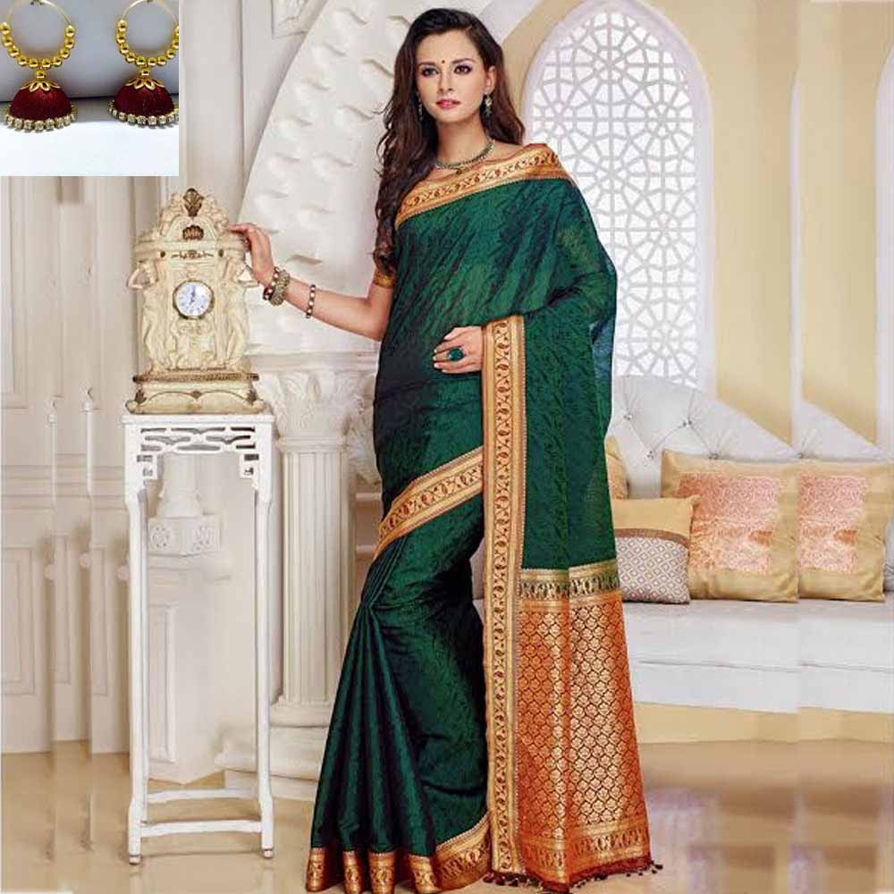 Green and Maroon cot silk saree