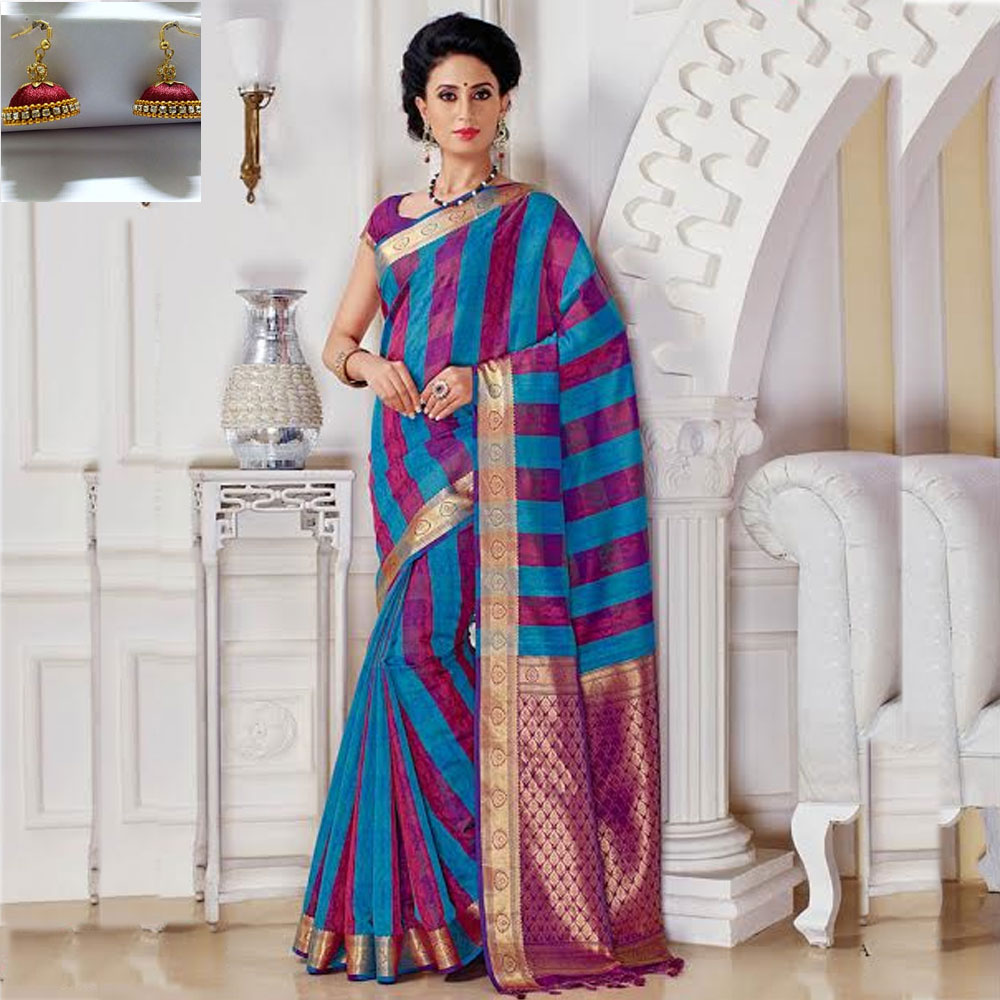 Double and Pink cot silk saree