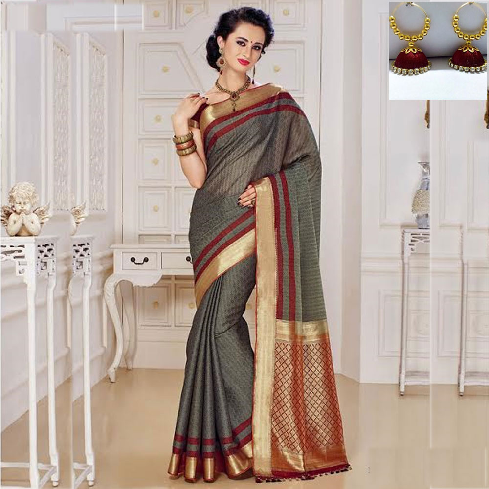 Grey and Maroon cot silk saree