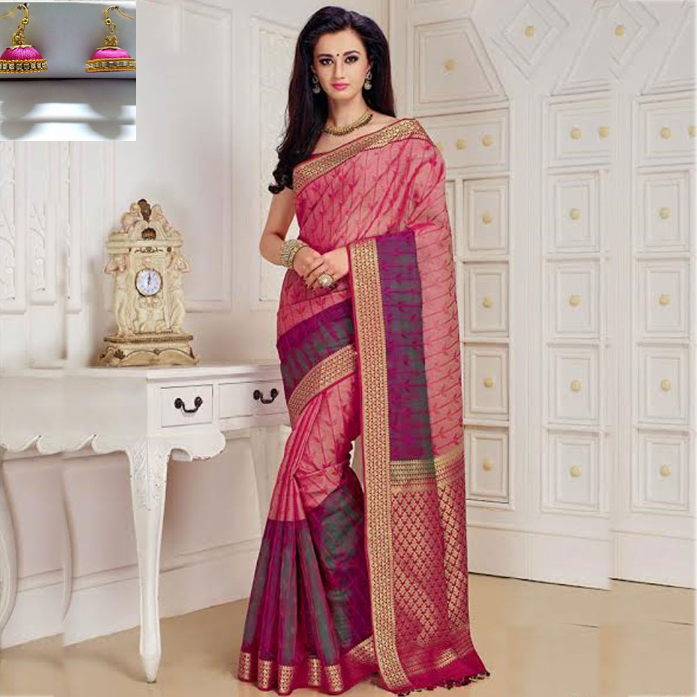Pink and Dark pink cot silk saree
