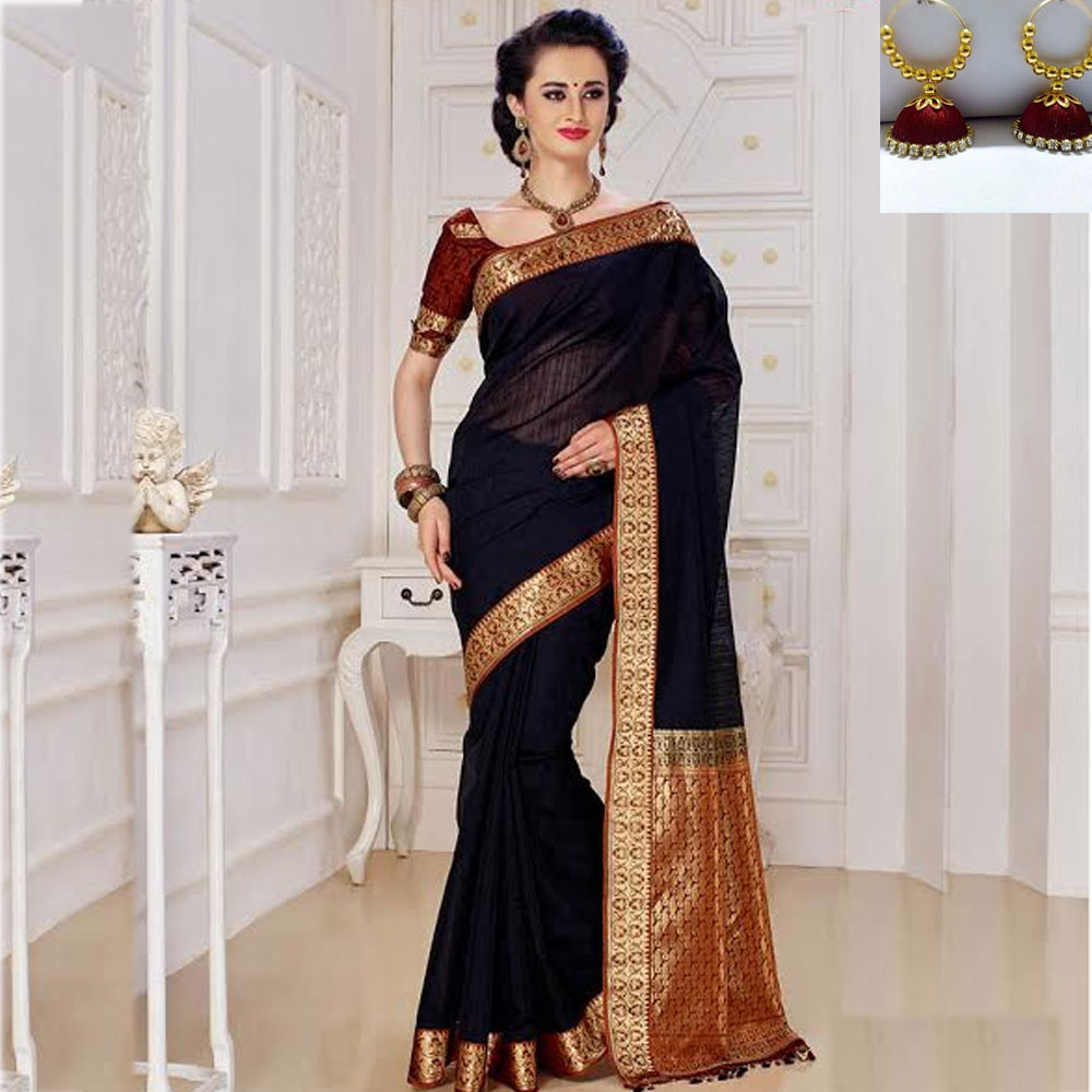 Black and Brown cot silk saree