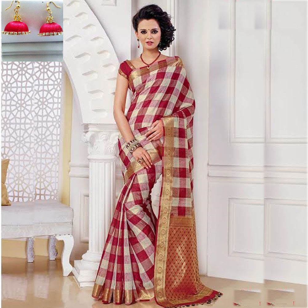 Multi and Red cot silk saree