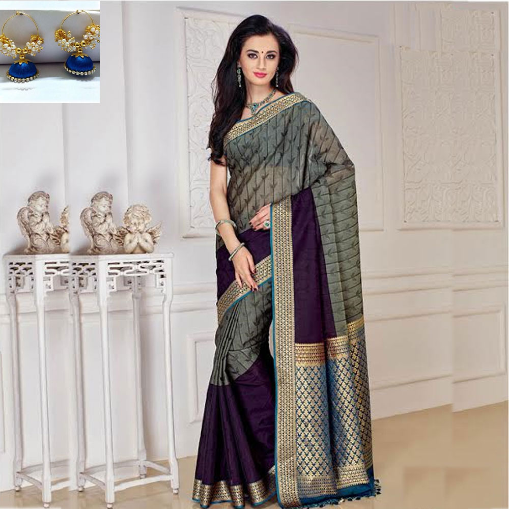 Grey and Blue cot silk saree
