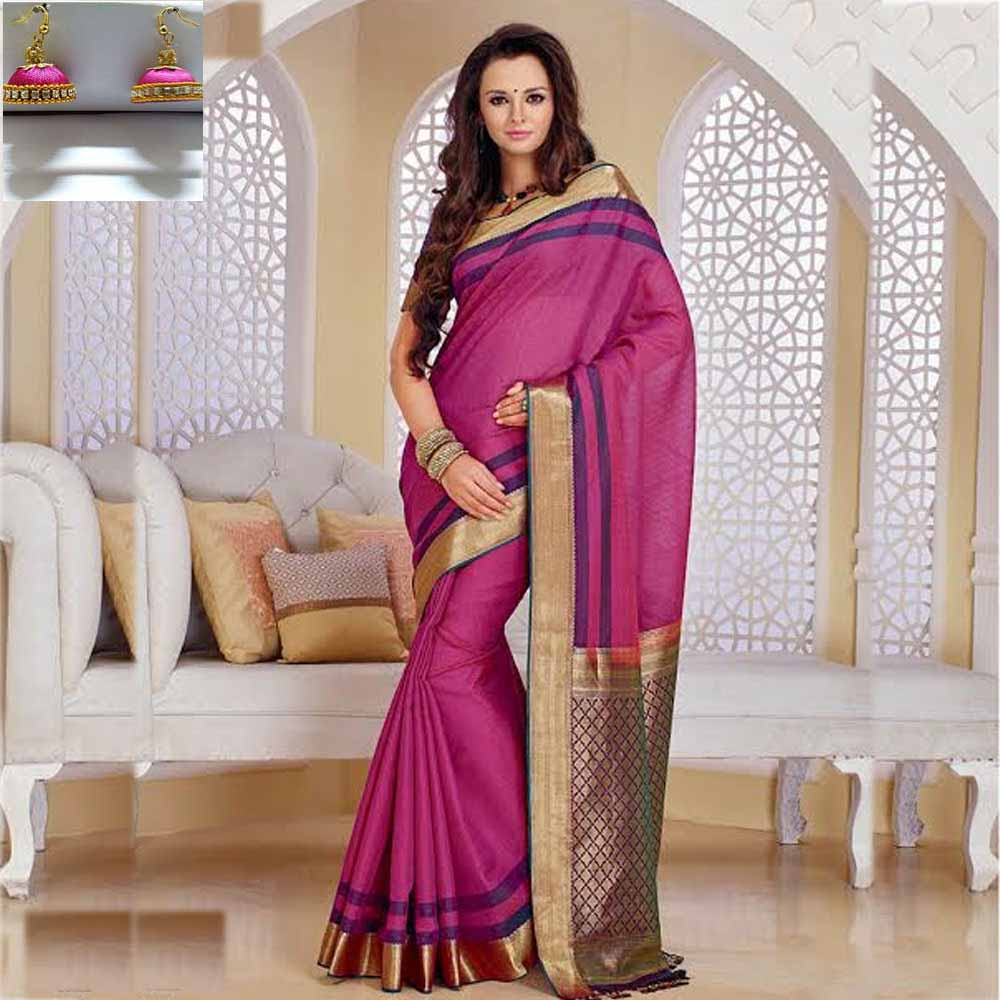 Dark pink and Violet cot silk saree