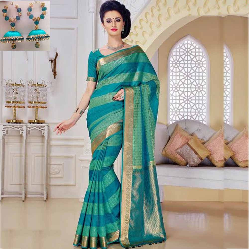 Green and Blue cot silk saree