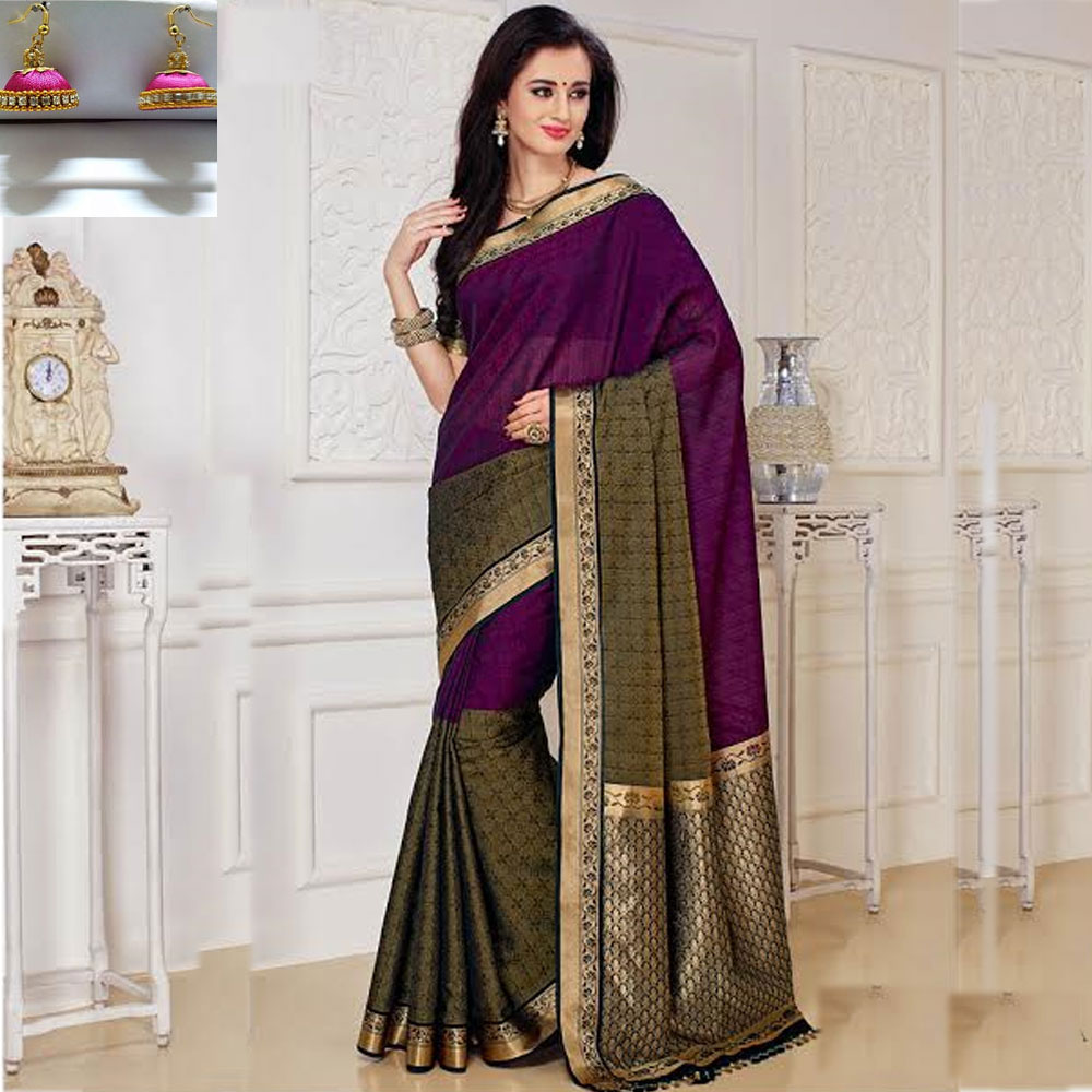 Magenta and Black cot silk saree