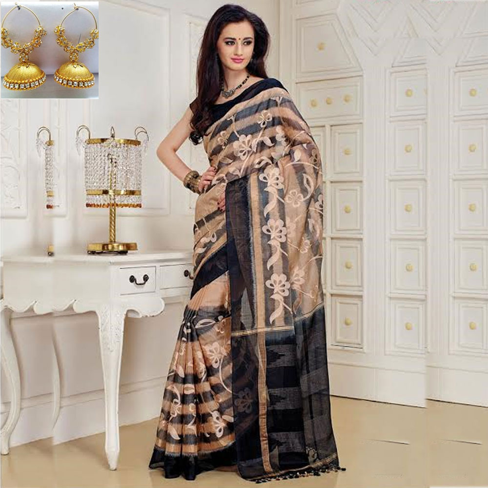 Peach and Black cot silk ikkat embroidery saree