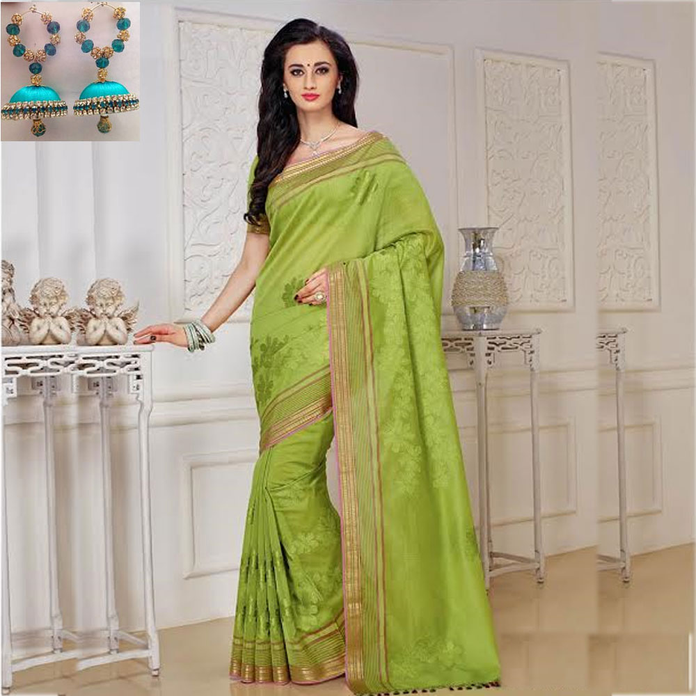 Parrot green cot silk embroidery saree