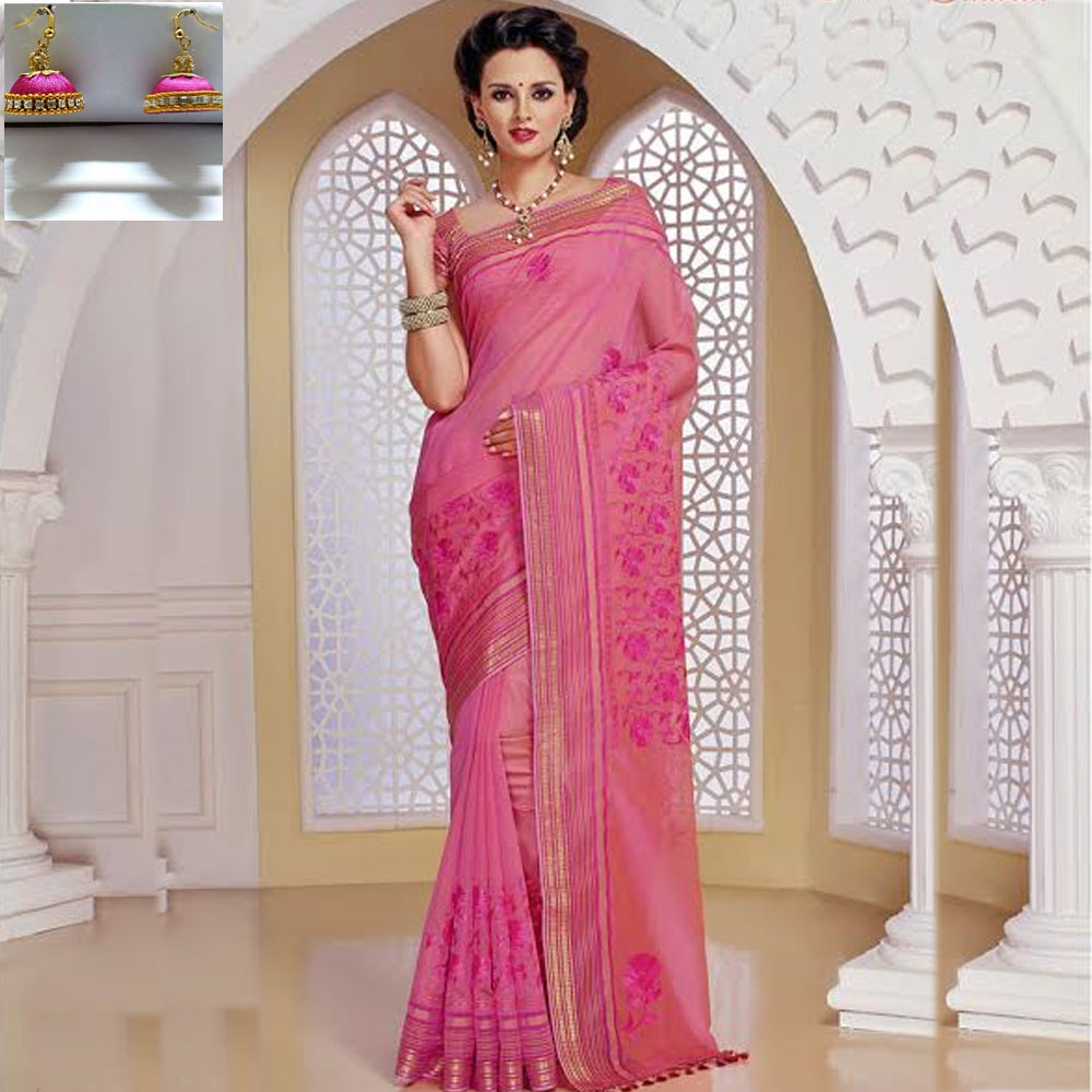 Pink cot silk embroidery saree